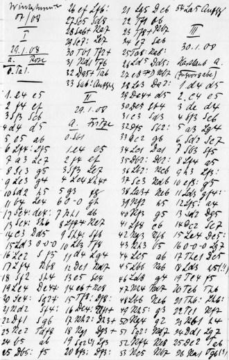 Partienotationen Oskar Antzes zum Winterturnier der BSG 1907/08, ganz rechts der Beginn einer Partie mit Hartlaub